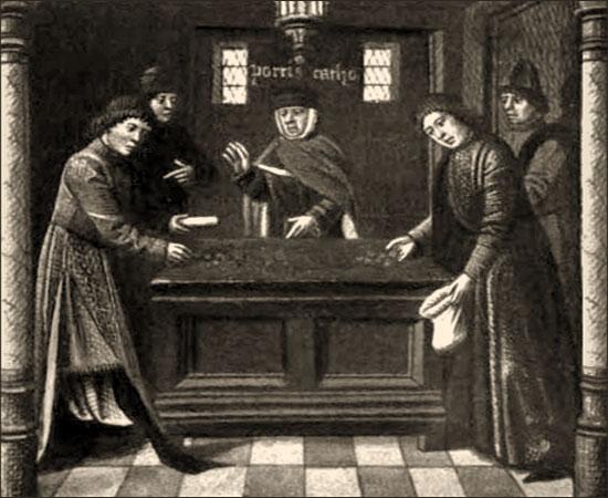 Buchmalerei (sw): 5 Geldwechsler aus Florenz im Disput am Wechseltisch - 14. Jh