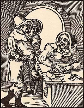 Holzschnitt: 2 Männer am Tisch eines Wechslers in einem Gewölbe - 1525