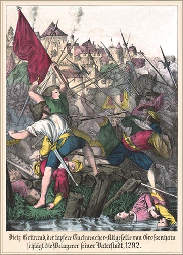 kolorierter Holzstich: Tuchmacher Grünrad im Kampfgetümmel um Großenhain - 1292