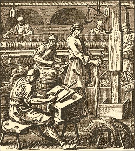 Kupferstich. mehrere Tuchmacher bei verschieden Tätigkeiten in der Werkstatt - 1698