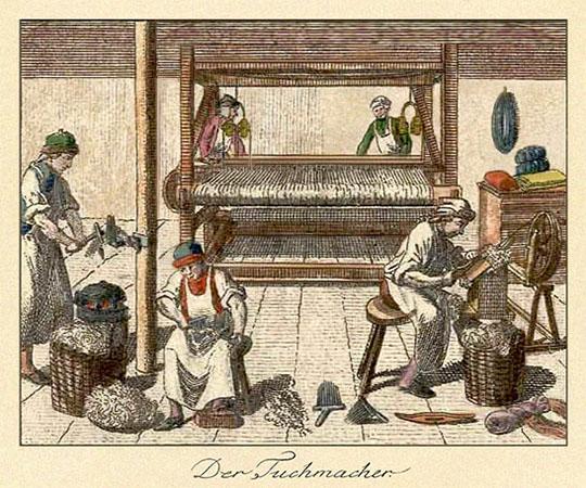 kolorierter Holzstich: zeigt Vorbereiten und Weben von Wolle - 1791