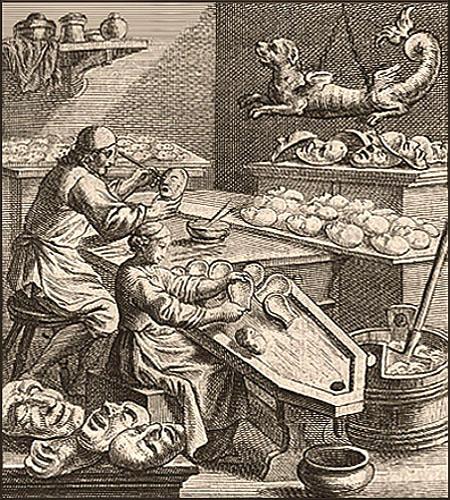 Kupferstich: Mann u. Frau fertigen Pappköpfe für Puppen - 1698