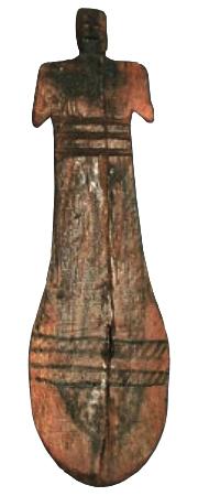 Farbfoto: ägyptische Holzpuppe (sog. Paddelpuppe) aus dem 20.Jh.v.Chr