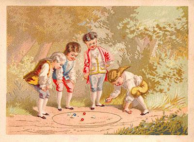 vier adlige Kinder beim Murmelspiel