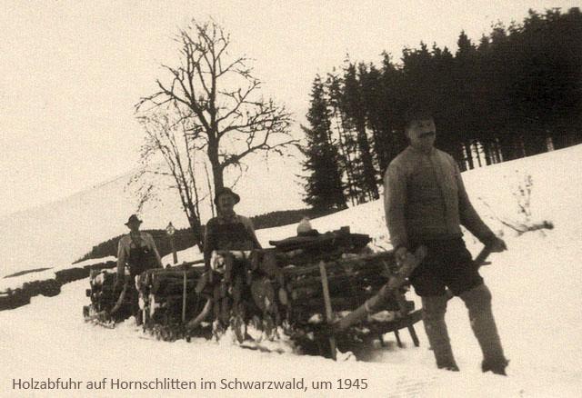 sw Foto: 3 Männer unterwegs mit Holz beladenen Hornschlitten ~1945