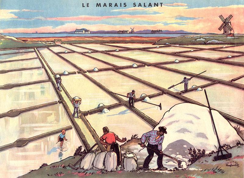 Schulbuchillu: Arbeit auf den Salzfeldern