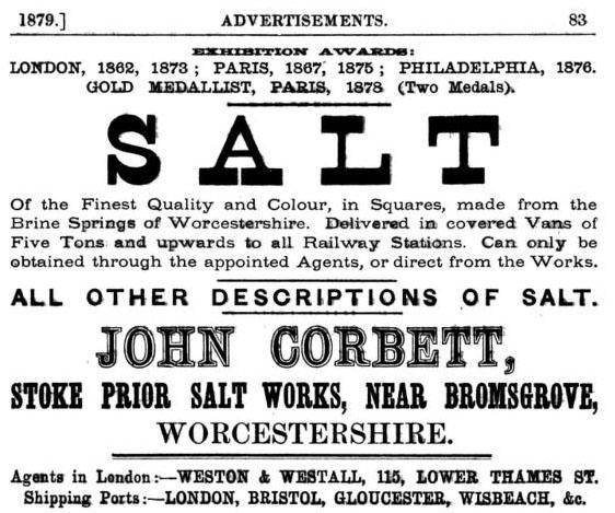 englische Textanzeige für Salz