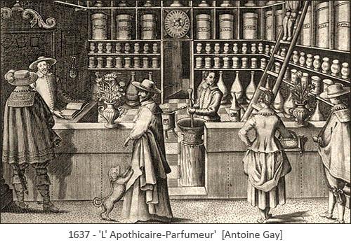 Kupferstich: Kunden in einer Parfümeur-Apotheke - 1637, Frankr.