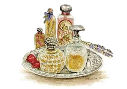 kl. Farbillu: Flacons mit Parfüm