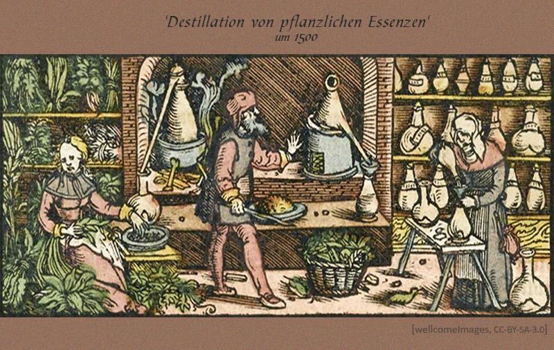 kolorierter Holzschnitt: Menschen bereiten pflanzliche Essenzen