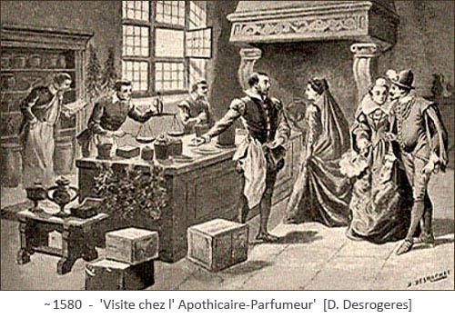 Aquatinta: Apotheke demonstriert Herrschaften Parfümherstellung ~1580, Frankr.