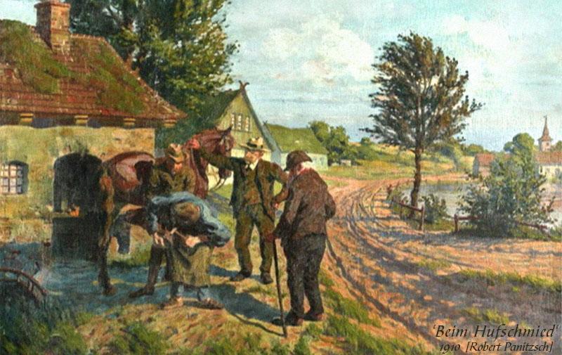 Gemälde: 3 ältere Herren sehen zu, wie Hufschmied einen Gaul beschlägt - 1910
