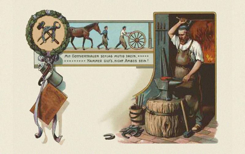 Postkarte mit Spruch 'MIT GOTTVERTRAUEN SCHLAG MUTIG DREIN. HAMMER GILT'S, NICHT AMBOSS SEIN!