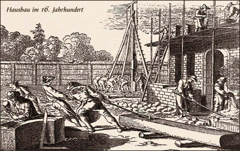 Tuschezeichnung: viele Bauknechte auf mittelalterlicher Baustelle