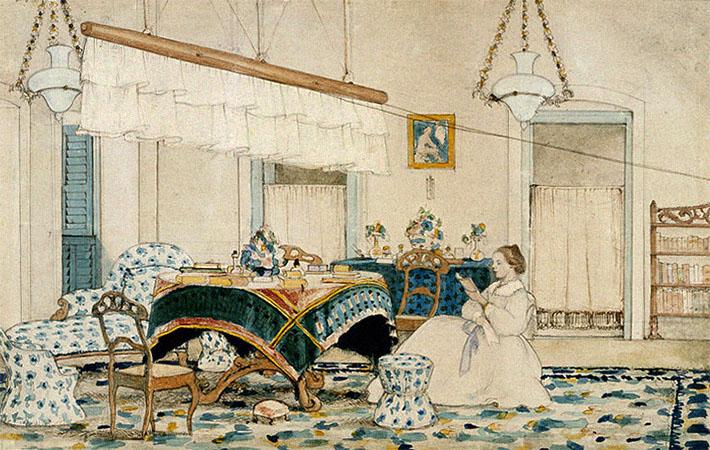 Aquarell: lesende Britin unter einem Deckenfächer - 1836, Indien