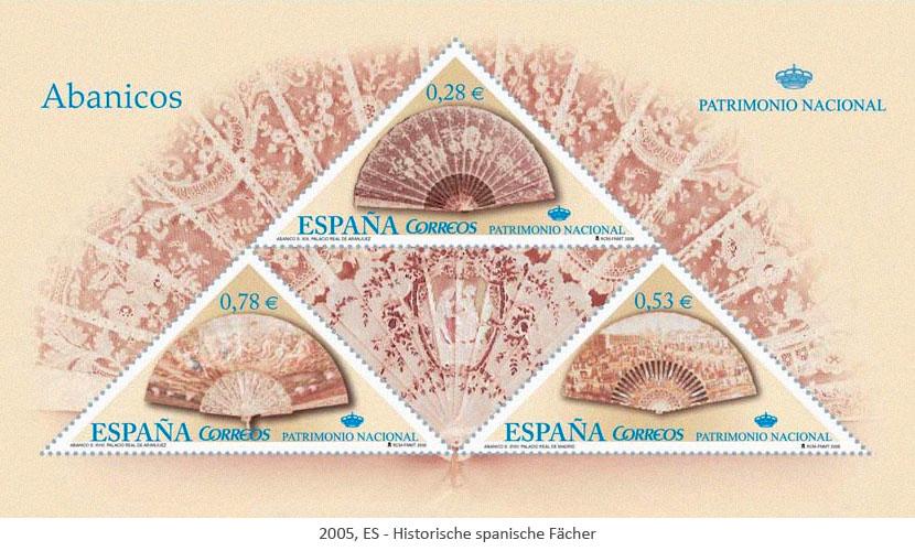 Briefmarkenblock: Hist. spanische Fächer - 2005, ES