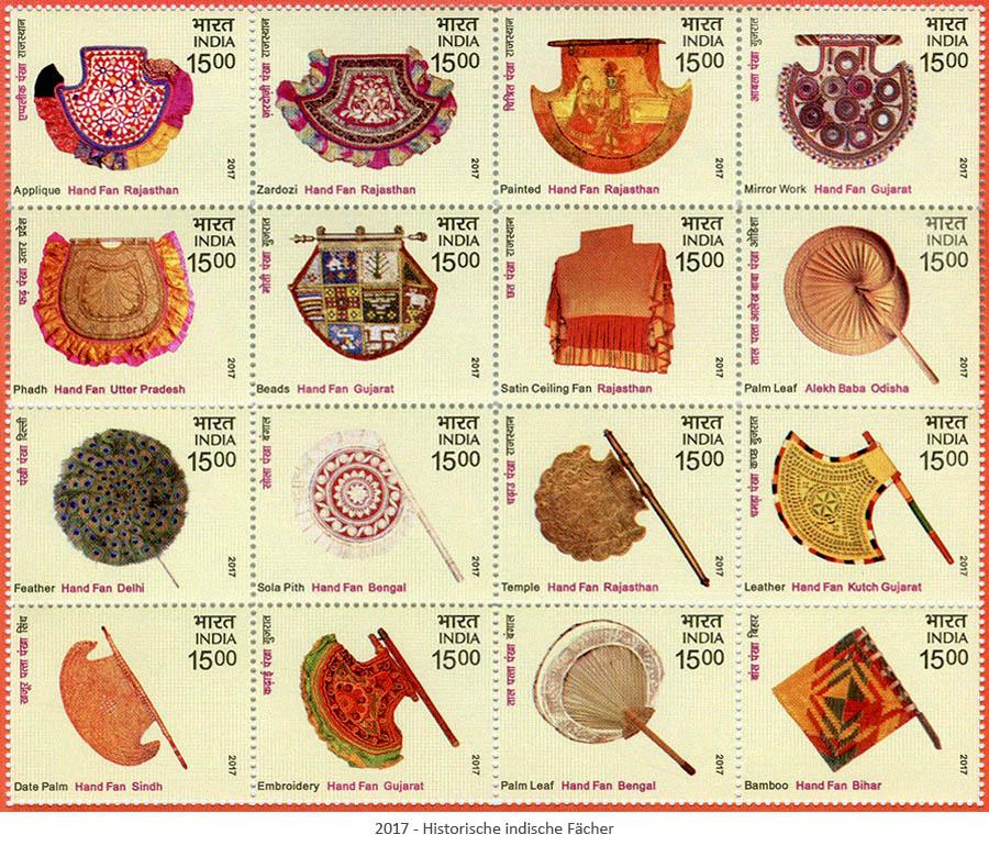 Briefmarken: Historische indische Fächer - 2017