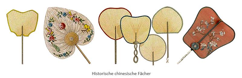 Farblitho: diverse Formen chinesischer Fächer