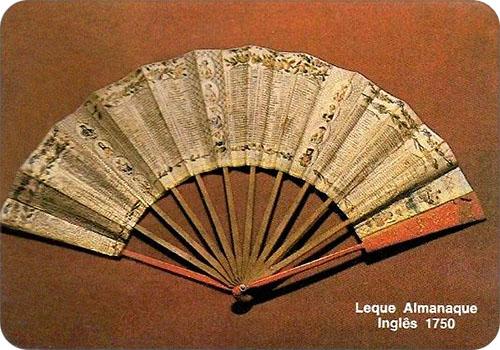 spanisches Sammelbild mit engl. Fächer von 1750