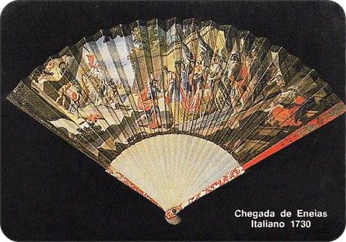 spanisches Sammelbild mit ital. Fächer von 1730