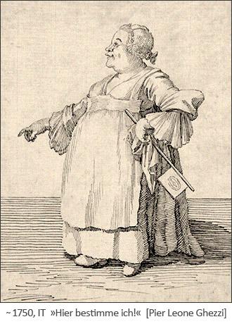 Karikatur: dicke Frau mit Fahnenfächer 'Hier bestimme ich!' ~1750, IT
