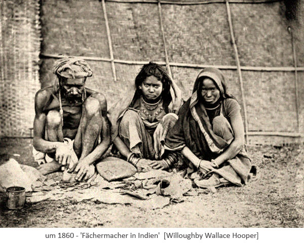 sw Foto: Fächermacher in Indien ~1860