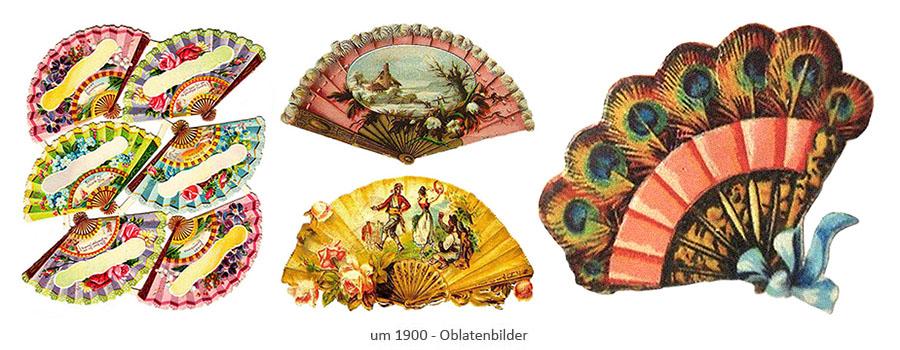 Oblatenbilder mit Fächermotiven ~1900