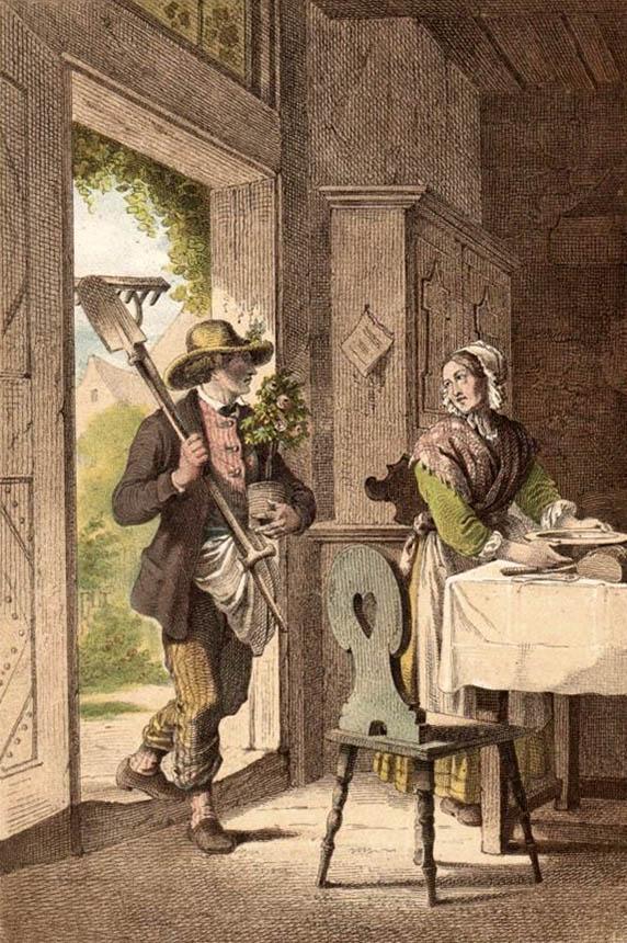 Litho: Gärtner kommt zur Frau hinein