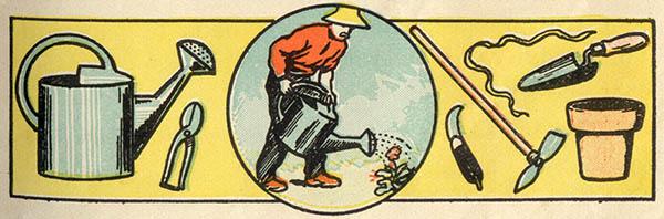 Piktogramme: Gärtner und Gerätschaften