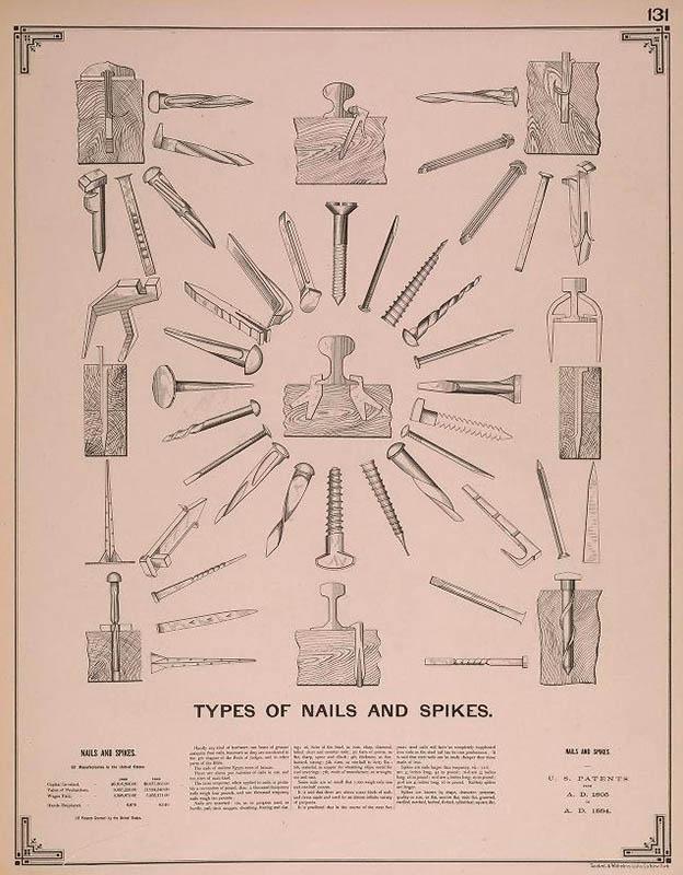 Zeichnung: Typen von Nägeln und Spikes