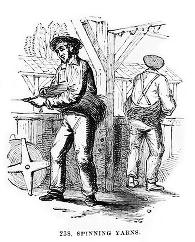 sw-Zeichnung: Männer spinnen das Vorgarn