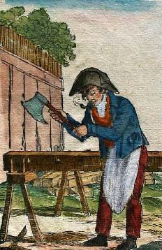 Aquarell: Mann mit Napoleonmütze und Schürze bearbeitet Holzbalken