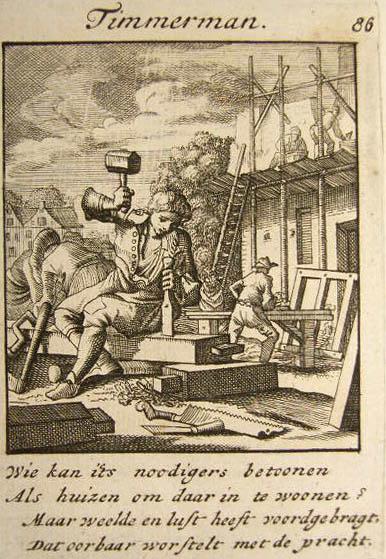 Stich: Zimmermann bearbeitet Balken mit Stechbeitel und Hammer