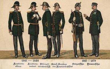 AK Litho: sechs Männer in Uniform