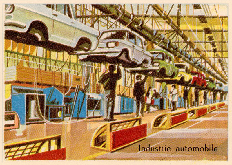 farbige illu: Autobau am Fließband
