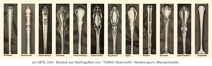 sw Katalogbild: 12 Griffmuster aus Sterlingsilber von 'TOWLE Silversmith' Massachusetts ~1870