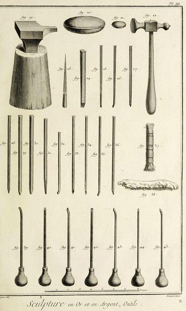 Bildhauer: Werkzeuge für Gold- und Silberbearbeitung