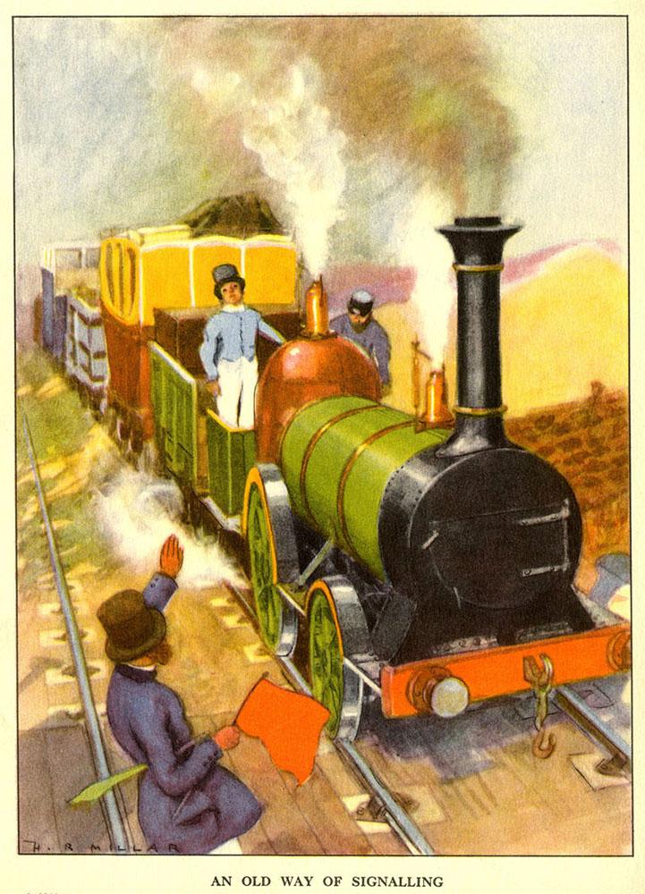 Kinderbuchillustration: Lok mit Anhänger kommt angefahren