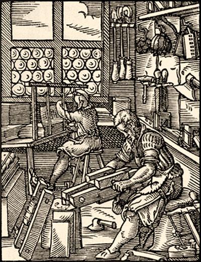 Holzschnitt: ein Buchbinder arbeitet mit Beschneidehobel, ein anderer an einer Heftlade - 1568