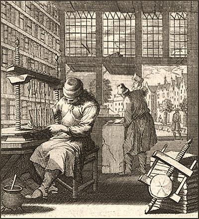 Kupferstich: ein Buchbinder arbeitet an einer Heftlade, ein anderer hämmert im Hintergrund - 1698
