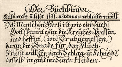 Originaltext 'Der Buchbinder' - 1698