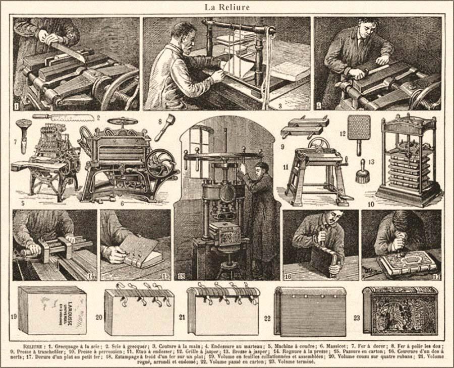 Litho: 23 Illustrationen zur Buchbinderei - 1922, FR