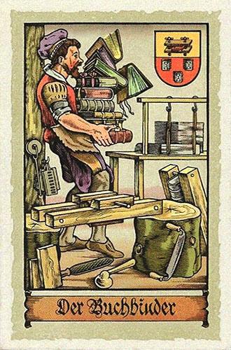 Sammelbild: zeigt diverse Werkzeuge und Buchbinder, der Bücherstapel trägt ~1575