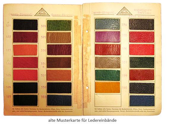 Farbfoto: alte Musterkarte für Ledereinbände