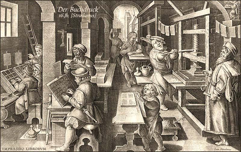 Kupferstich: verschieden Arbeitsschritte in Buchdruckerei - 16. Jh