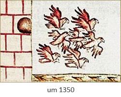 Buchmalerei: Tauben fliegen aus Turm ~1350