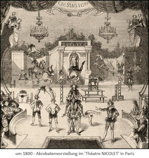 Kupferstich: mehrere Akrobaten führen Kunstücke auf Theaterbühne vor ~1800, FR