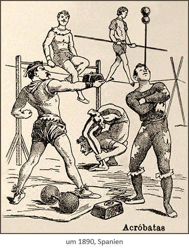 Federzeichnung: 5 verschiedene Akrobaten ~1890, Spanien
