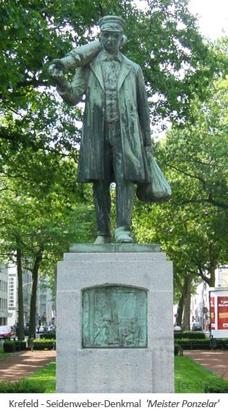 Farbfoto: Seidenweber-Denkmal in Krefeld