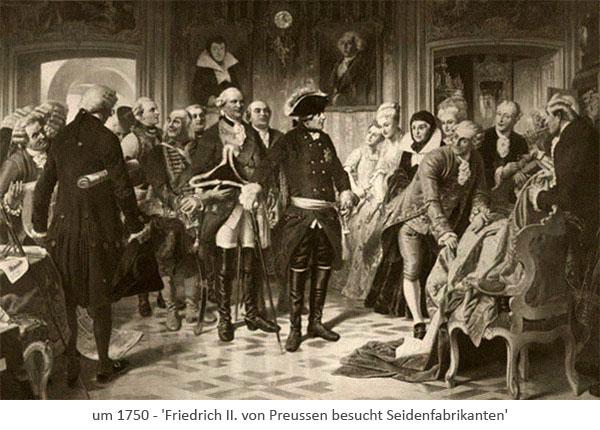 Gemälde: Friedrich II. von Preussen besucht Seidenfabrikanten ~1750